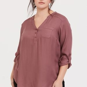 Torrid walnut brown tunic twill shirt top 3 22 24